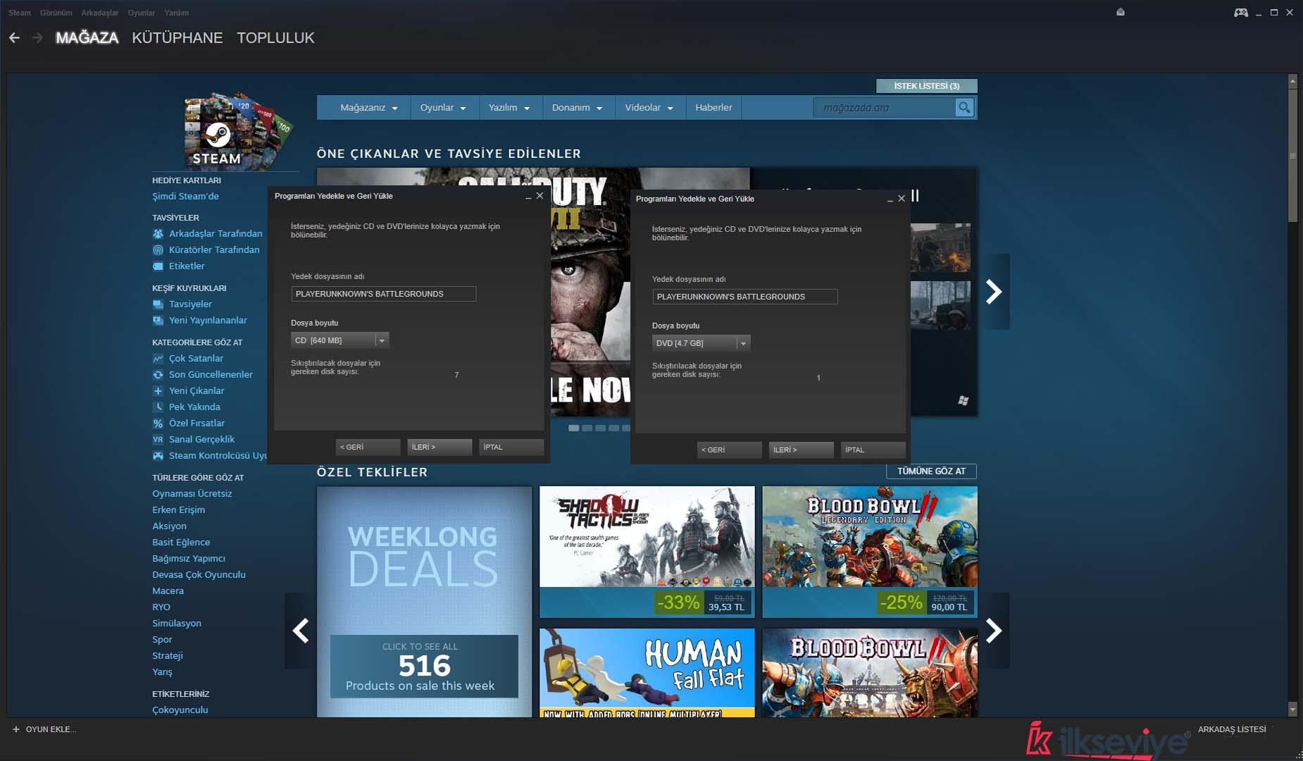 Steam Oyunları Yedek Boyutlandırma