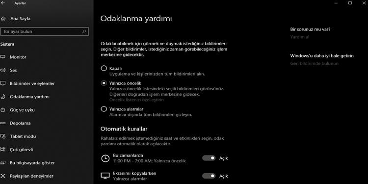 Windows 10 Odaklanma Yardımcısı Aktifleştirme