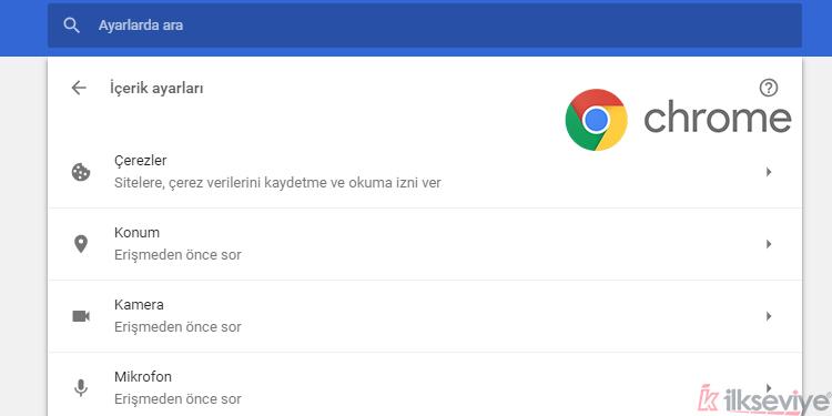 Chrome Tarayıcı Çerezlerini Etkinleştirme