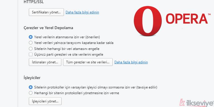 Opera tarayıcı çerezlerini etkinleştirmek